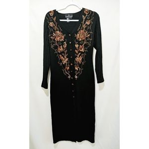 Vtg Carole Little Embroidered Button Down Dress